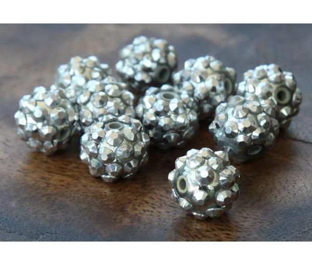 Silver Metallic Rhinestone Ball Beads, 12mm Round, Pack of 10