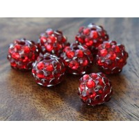 Red Rhinestone Ball Beads, 12mm Round