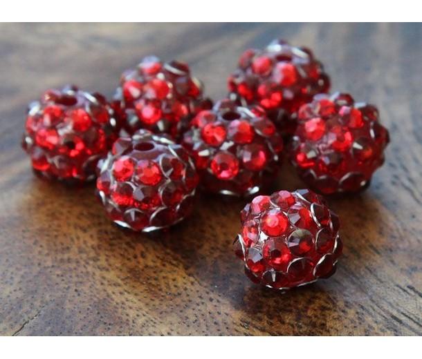 Red Rhinestone Ball Beads, 12mm Round