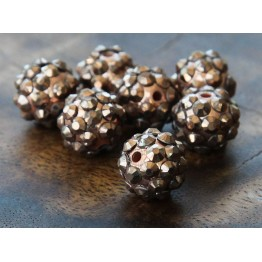 Brown Metallic Rhinestone Ball Beads, 12mm Round