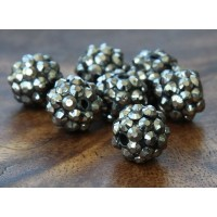Dark Grey Metallic Rhinestone Ball Beads, 12mm Round, Pack of 10