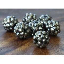 Dark Grey Metallic Rhinestone Ball Beads, 12mm Round