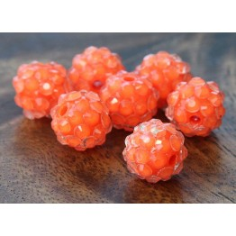 Bright Orange Clear Rhinestone Ball Beads, 12mm Round