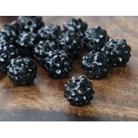 Black Clear Rhinestone Ball Beads, 12mm Round