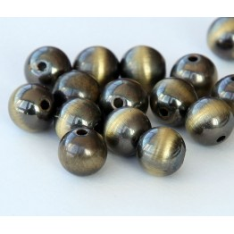 8mm Round Metalized Plastic Beads, Brushed Satin Brass