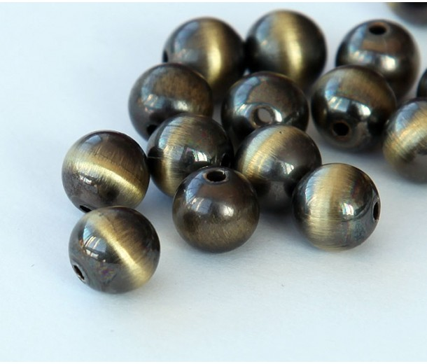 10mm Round Metalized Plastic Beads, Brushed Satin Brass