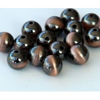 8mm Round Metalized Plastic Beads, Brushed Satin Copper