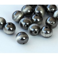10mm Round Metalized Plastic Beads, Brushed Satin Silver