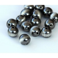 8mm Round Metalized Plastic Beads, Brushed Satin Silver