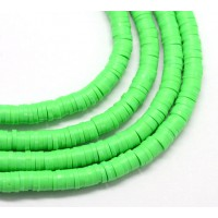 Polymer Clay Beads, Bright Green, 7mm Heishi Disk