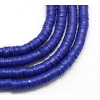 Polymer Clay Beads, Cobalt Blue, 7mm Heishi Disk