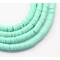 Polymer Clay Beads, Light Teal, 7mm Heishi Disk