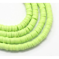 Polymer Clay Beads, Chartreuse Green, 7mm Heishi Disk
