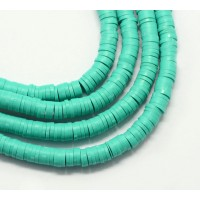 Polymer Clay Beads, Medium Teal, 7mm Heishi Disk