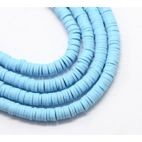 Polymer Clay Beads, Light Blue, 7mm Heishi Disk