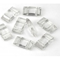 2 Hole Carrier Beads, 17x9mm, Clear, Pack of 10