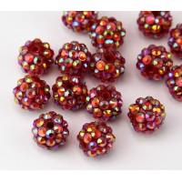 Dark Red AB Rhinestone Ball Beads, 12mm Round