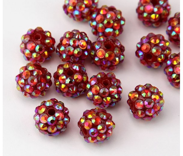 Dark Red AB Rhinestone Ball Beads, 12mm Round
