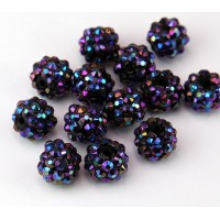 Midnight Purple AB Rhinestone Ball Beads, 12mm Round