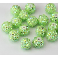 Light Green AB Rhinestone Ball Beads, 12mm Round