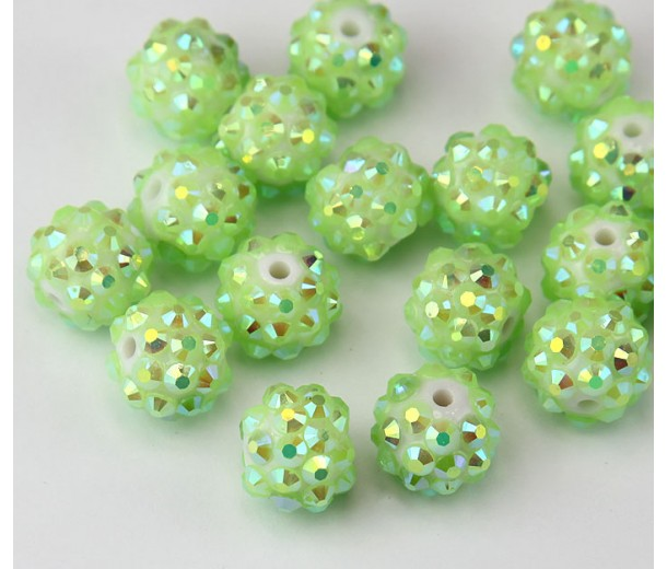 Light Green AB Rhinestone Ball Beads, 12mm Round