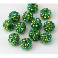 Dark Green AB Rhinestone Ball Beads, 12mm Round