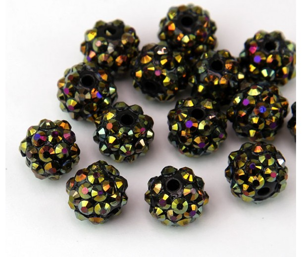 Brown Beetle AB Rhinestone Ball Beads, 12mm Round