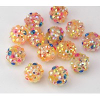 Peach Multi AB Rhinestone Ball Beads, 12mm Round
