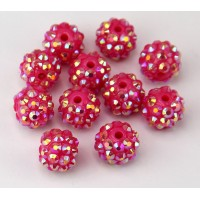 Raspberry Pink AB Rhinestone Ball Beads, 12mm Round