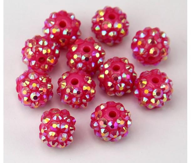 Raspberry Pink AB Rhinestone Ball Beads, 12mm Round