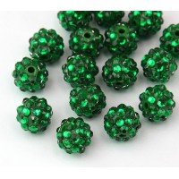 Grass Green Rhinestone Ball Beads, 12mm Round