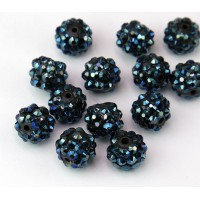Midnight Blue AB Rhinestone Ball Beads, 12mm Round