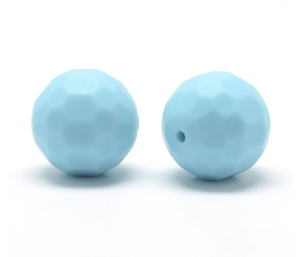 Light Blue Silicone Bead, 15mm Faceted Round