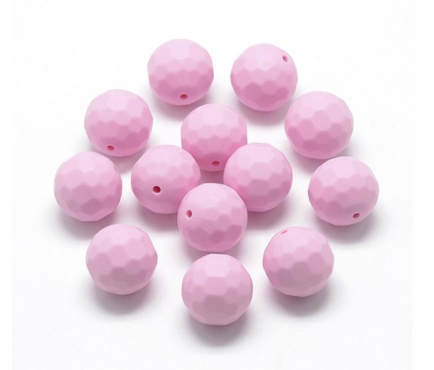 Rose Pink Silicone Bead, 15mm Faceted Round