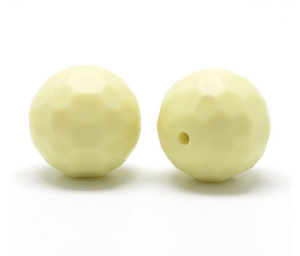Pale Yellow Silicone Bead, 15mm Faceted Round