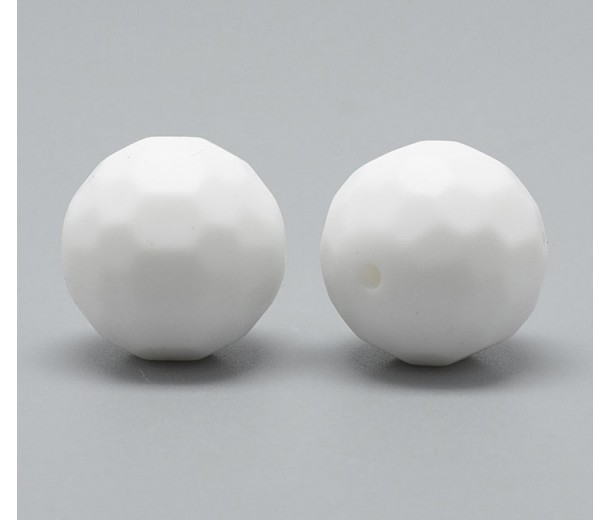 White Silicone Bead, 15mm Faceted Round
