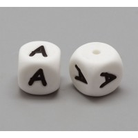 Letter A Silicone Bead, White, 12mm Cube