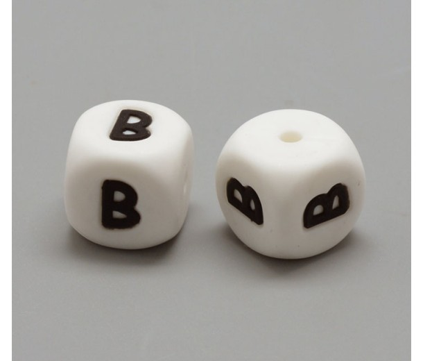 Letter B Silicone Bead, White, 12mm Cube