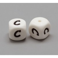 Letter C Silicone Bead, White, 12mm Cube
