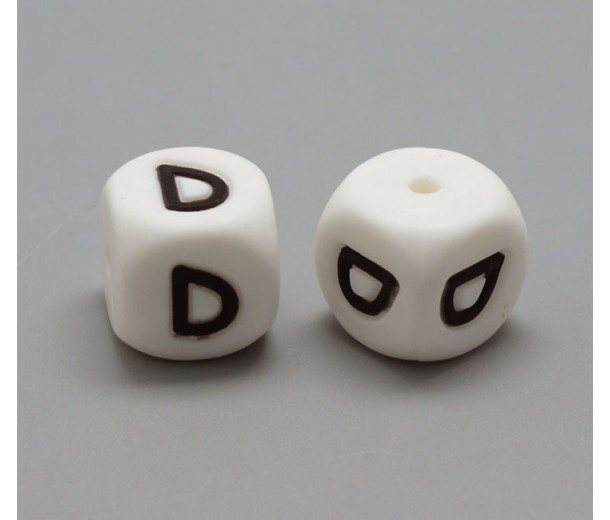 Letter D Silicone Bead, White, 12mm Cube