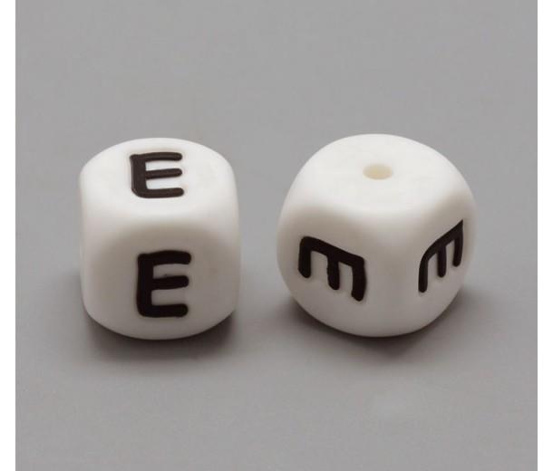 Letter E Silicone Bead, White, 12mm Cube
