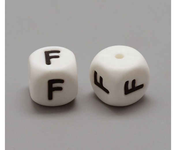 Letter F Silicone Bead, White, 12mm Cube