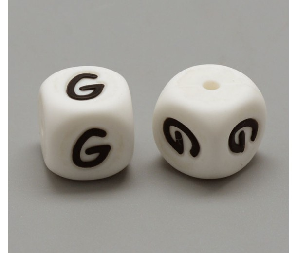Letter G Silicone Bead, White, 12mm Cube