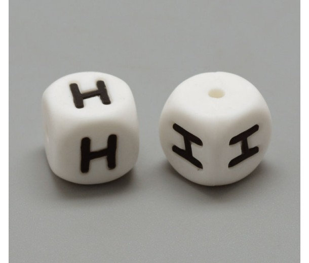 Letter H Silicone Bead, White, 12mm Cube