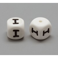 Letter I Silicone Bead, White, 12mm Cube