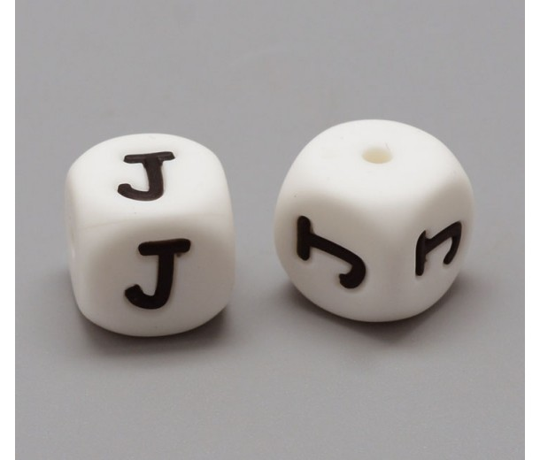 Letter J Silicone Bead, White, 12mm Cube
