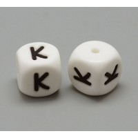 Letter K Silicone Bead, White, 12mm Cube