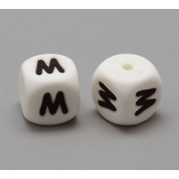 Letter M or W Silicone Bead, White, 12mm Cube