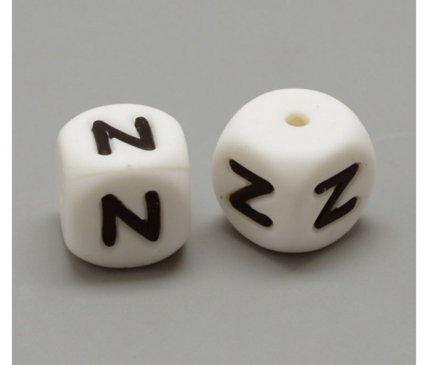 Letter N Silicone Bead, White, 12mm Cube