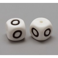 Letter O Silicone Bead, White, 12mm Cube